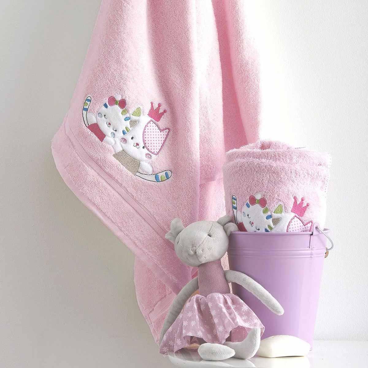 Βρεφικές Πετσέτες (Σετ 2τμχ) Sb Home Baby Gattino Pink
