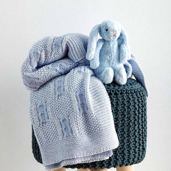Κουβέρτα Πλεκτή Αγκαλιάς Sb Home Baby Tress Blue