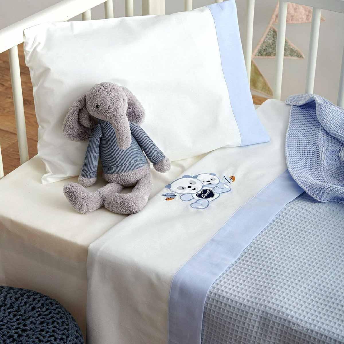 Σεντόνια Κούνιας (Σετ) Sb Home Baby Panda Blue