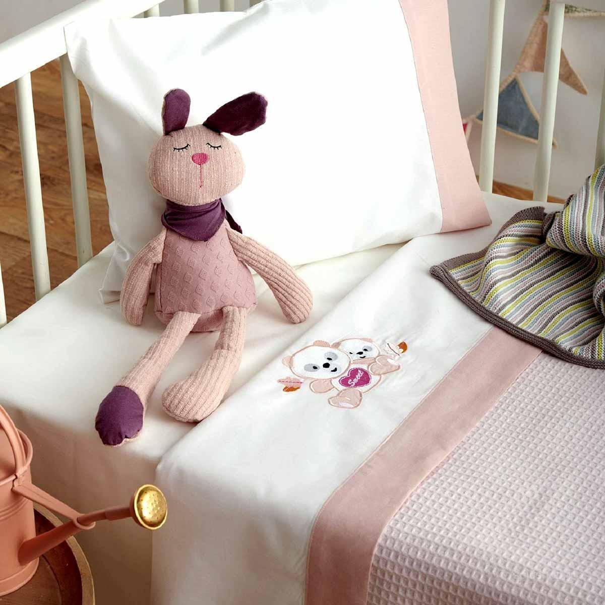 Σεντόνια Κούνιας (Σετ) Sb Home Baby Panda Pink