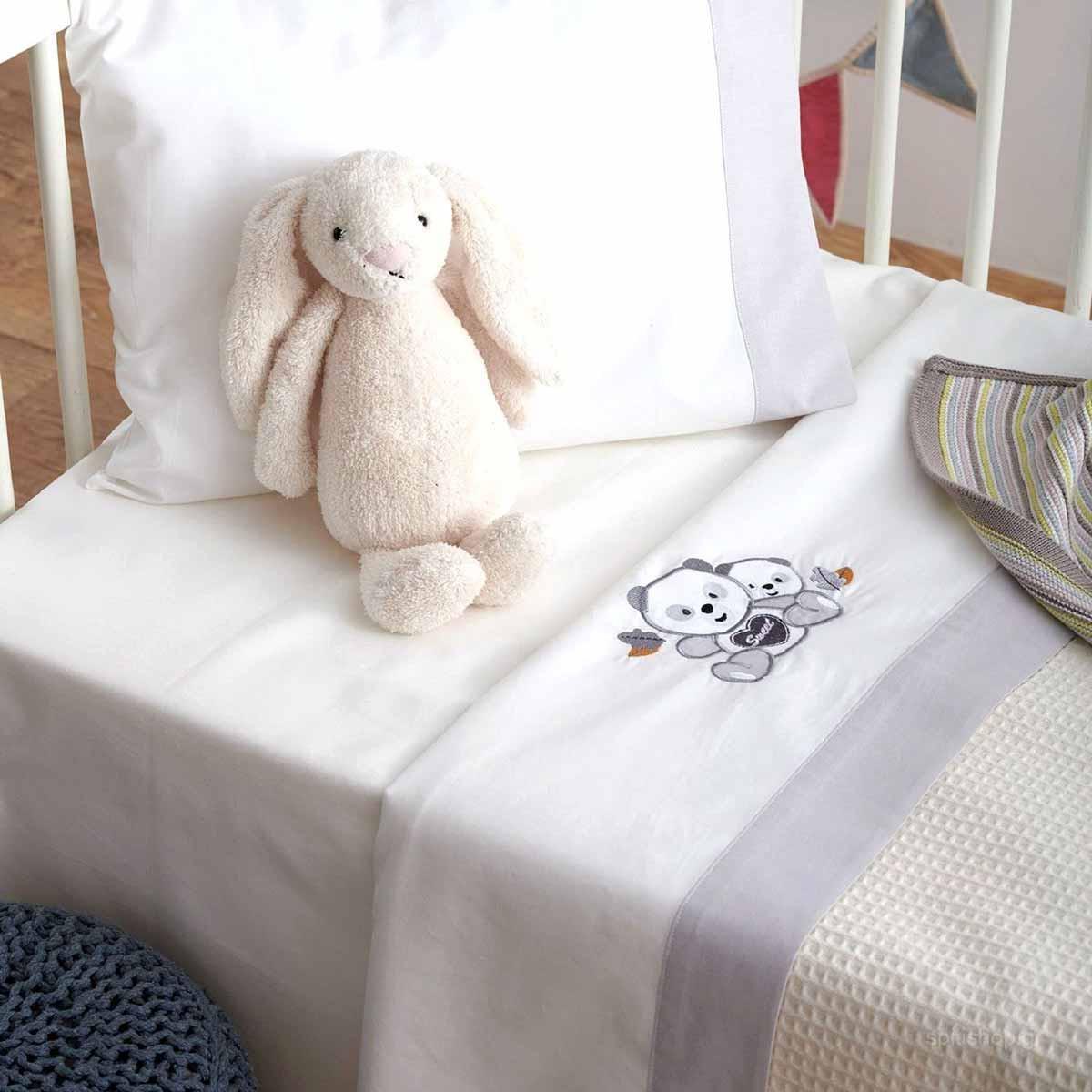 Σεντόνια Κούνιας (Σετ) Sb Home Baby Panda Grey