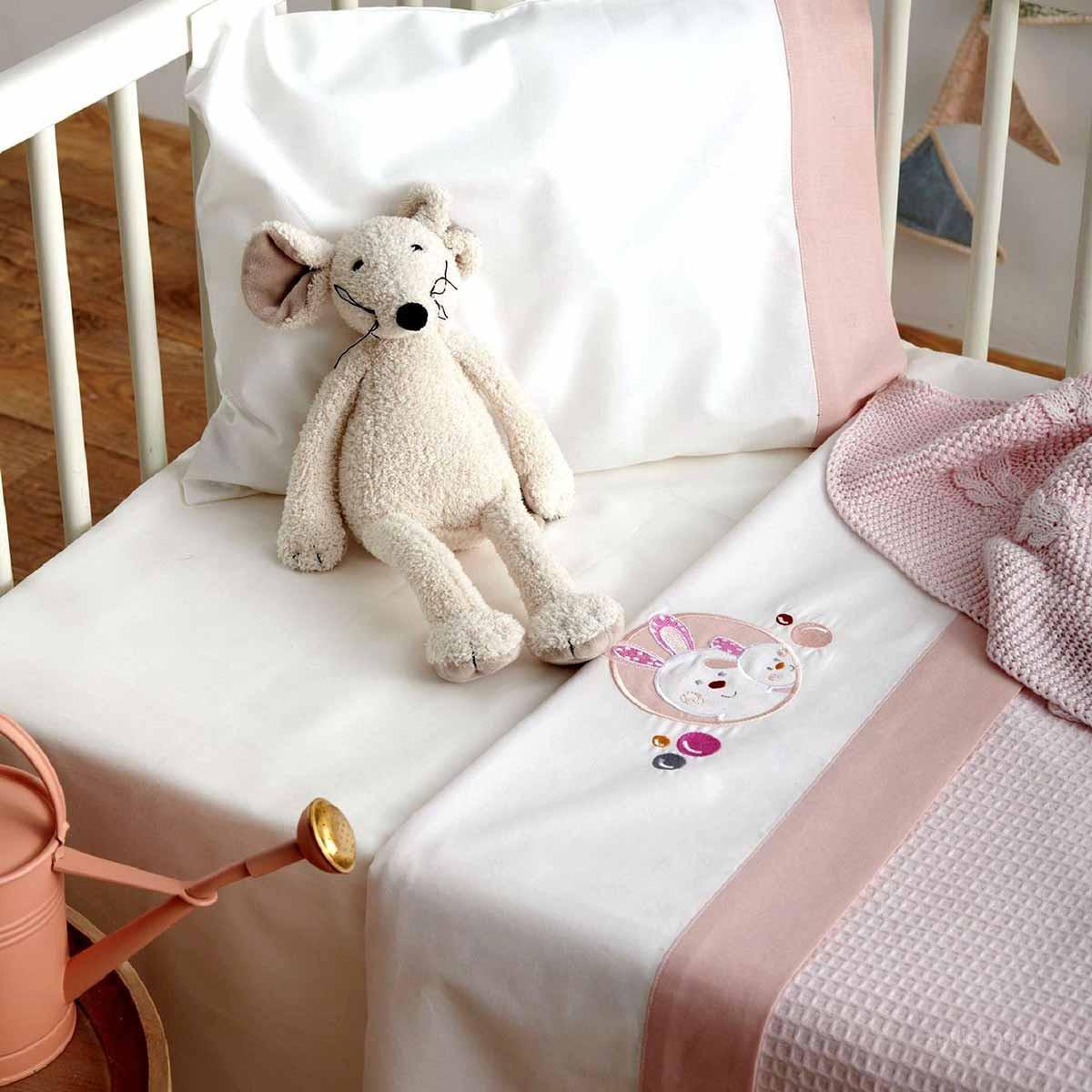 Σεντόνια Κούνιας (Σετ) Sb Home Baby Lapin Pink