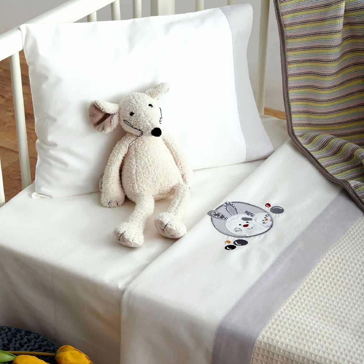 Σεντόνια Κούνιας (Σετ) Sb Home Baby Lapin Grey