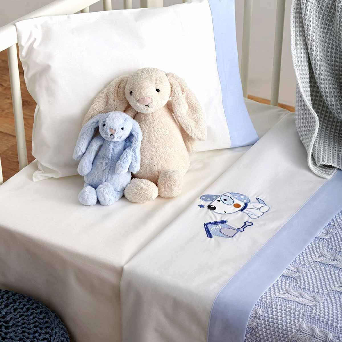 Σεντόνια Κούνιας (Σετ) Sb Home Baby Puppy Blue