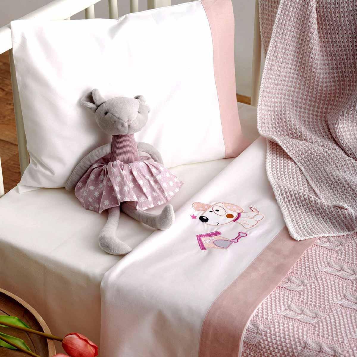 Σεντόνια Κούνιας (Σετ) Sb Home Baby Puppy Pink