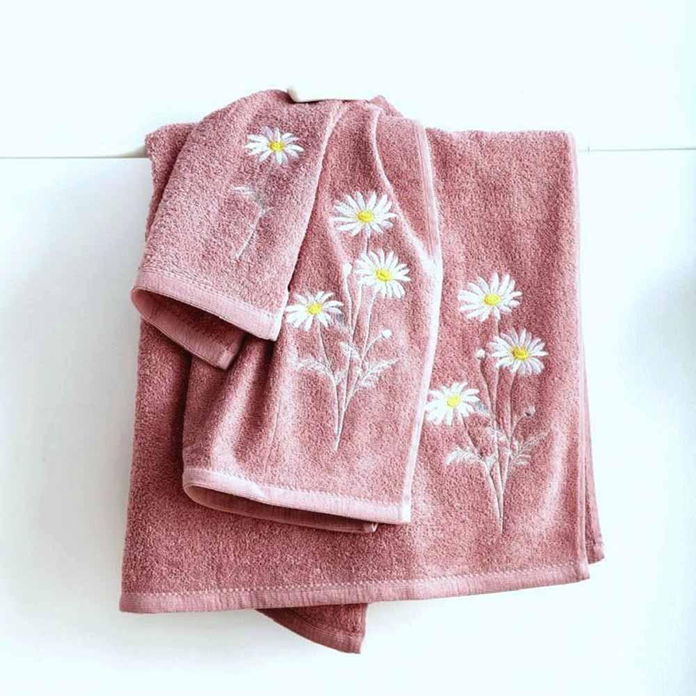 Πετσέτες Μπάνιου (Σετ 3τμχ) Sb Home Daises Coral