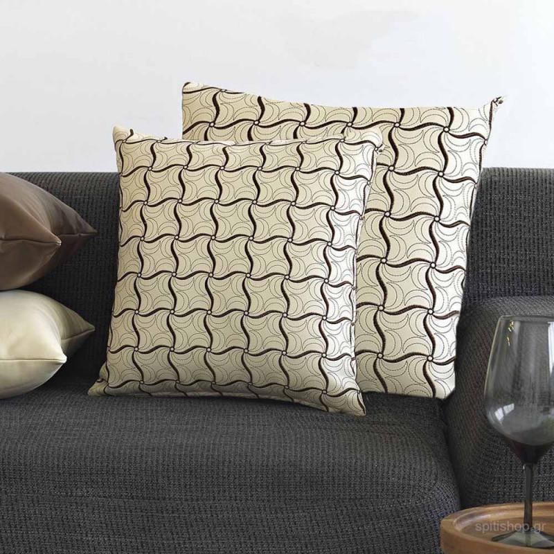 Διακοσμητική Μαξιλαροθήκη (45x45) Sb Home Leather Embroidery Cream