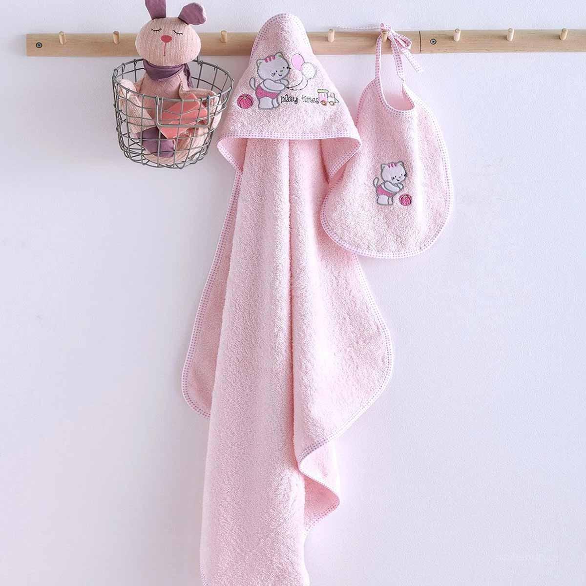 3168ddf9aba SpitiShop Βρεφική Κάπα + Σαλιάρα Sb Home Kitten Pink