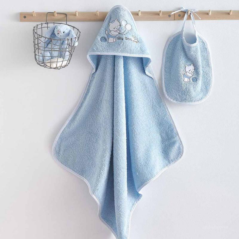 Βρεφική Κάπα + Σαλιάρα Sb Home Kitten Blue