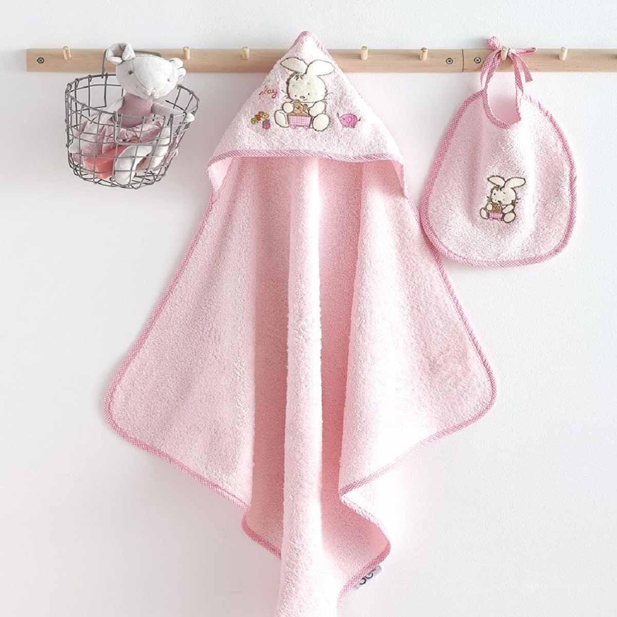 Βρεφική Κάπα + Σαλιάρα Sb Home Bunny Pink