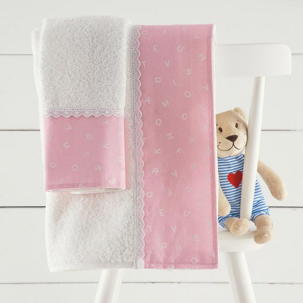Βρεφικές Πετσέτες (Σετ 2τμχ) Rythmos Letters Pink