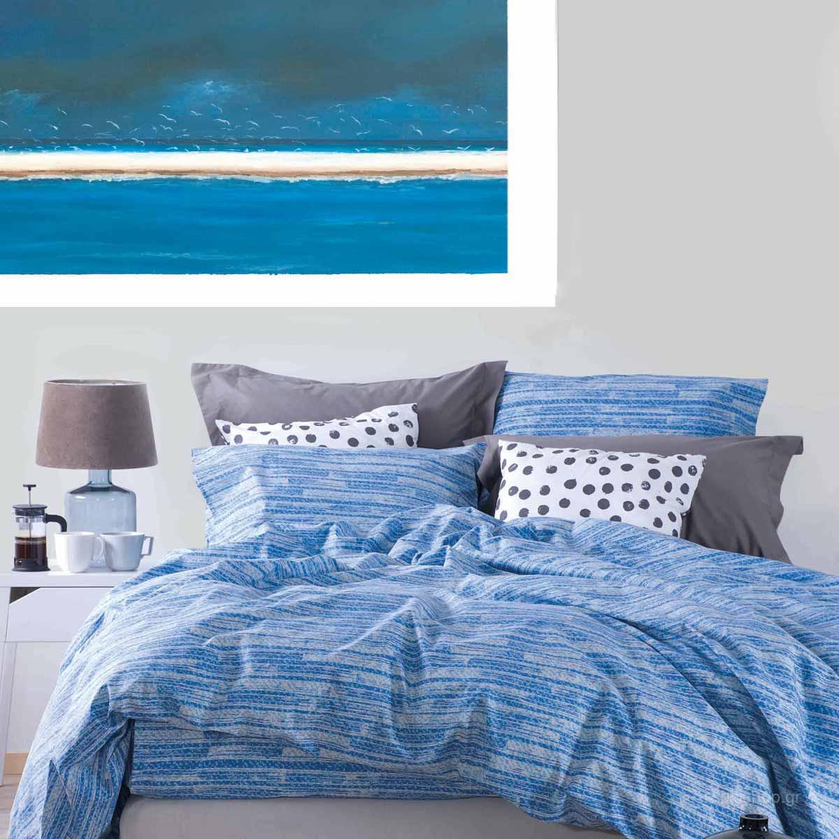 Κουβερλί Υπέρδιπλο (Σετ) Makis Tselios Denim Blue