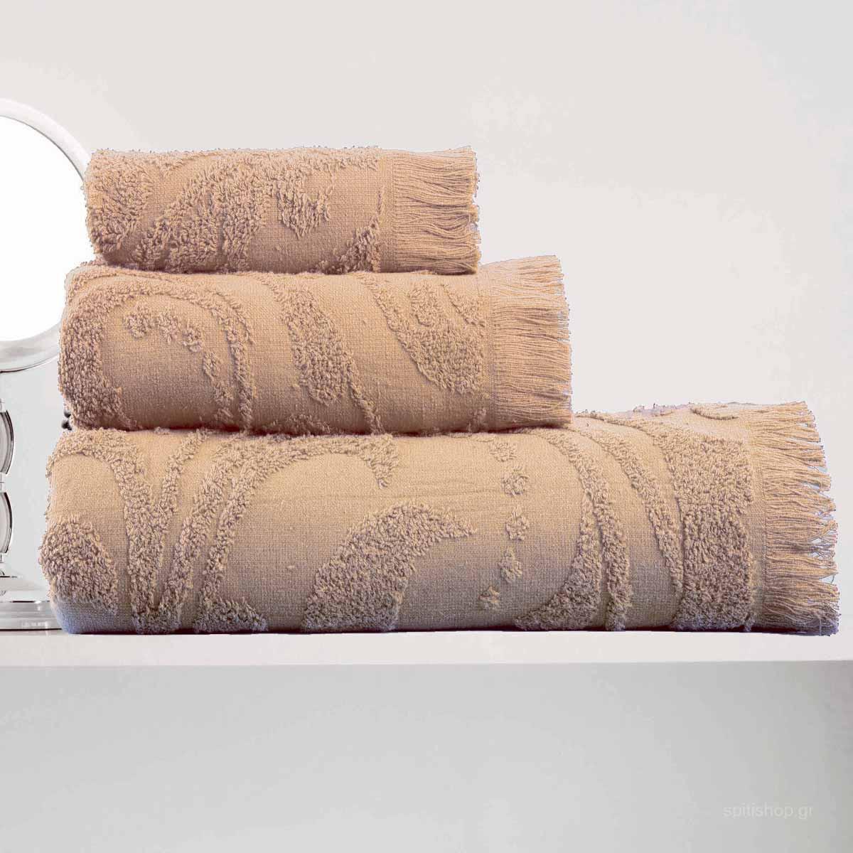 Πετσέτες Μπάνιου (Σετ 3τμχ) Makis Tselios Zackar Beige