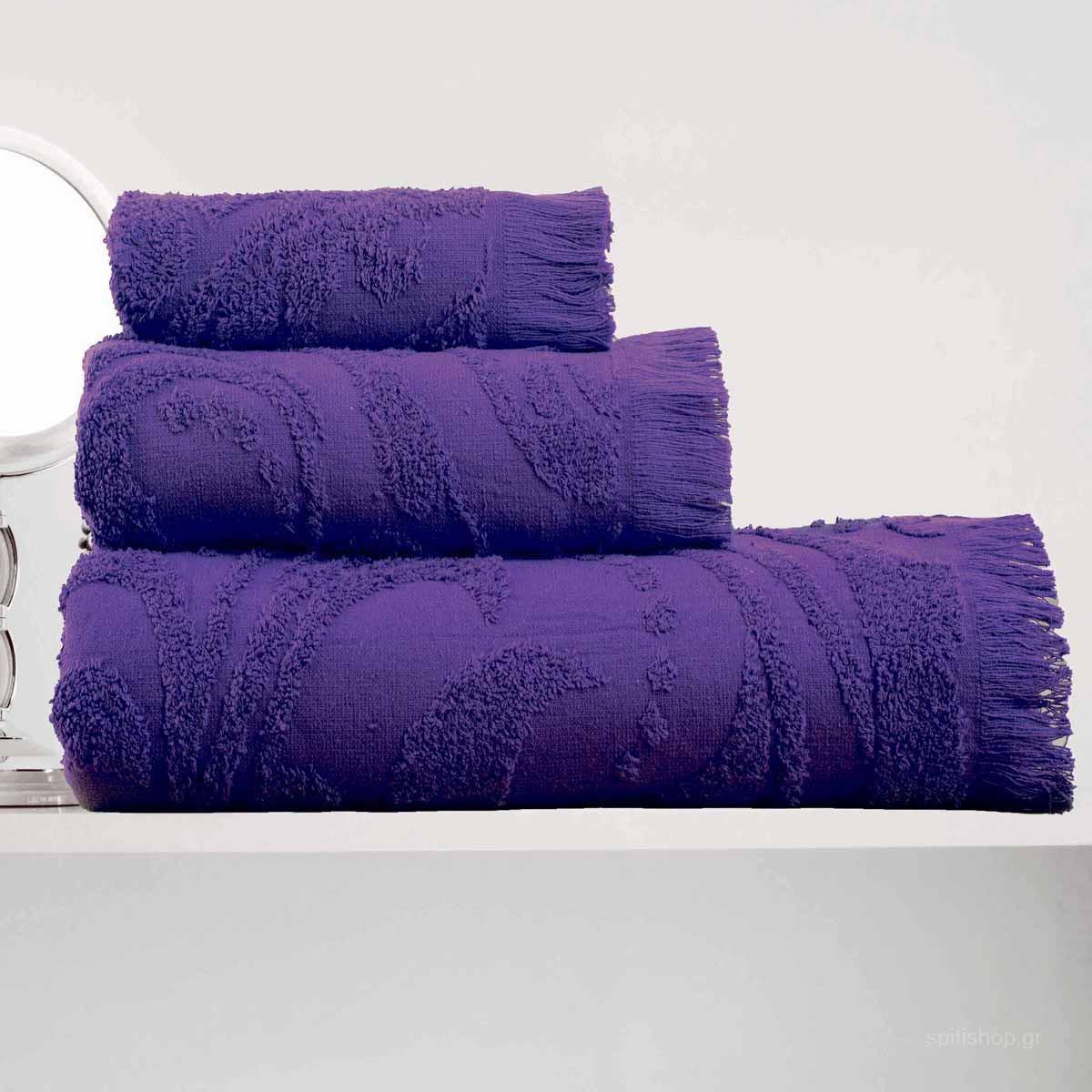 Πετσέτες Μπάνιου (Σετ 3τμχ) Makis Tselios Zackar Purple