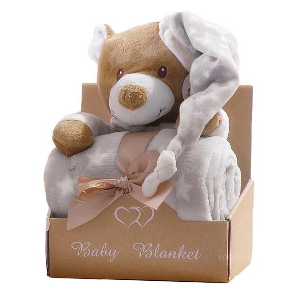 Κουβέρτα Fleece Αγκαλιάς + Αρκουδάκι Makis Tselios Hoodies Grey