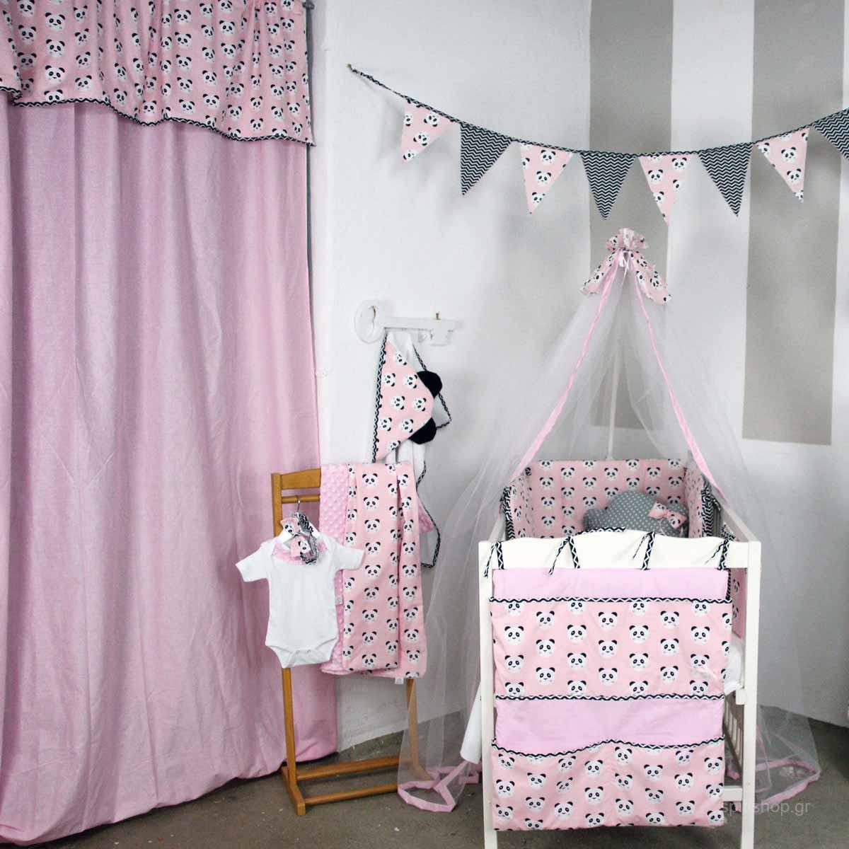 Παιδική Κουρτίνα (150×270) Με Τρέσα Ninna Nanna Pink Panda
