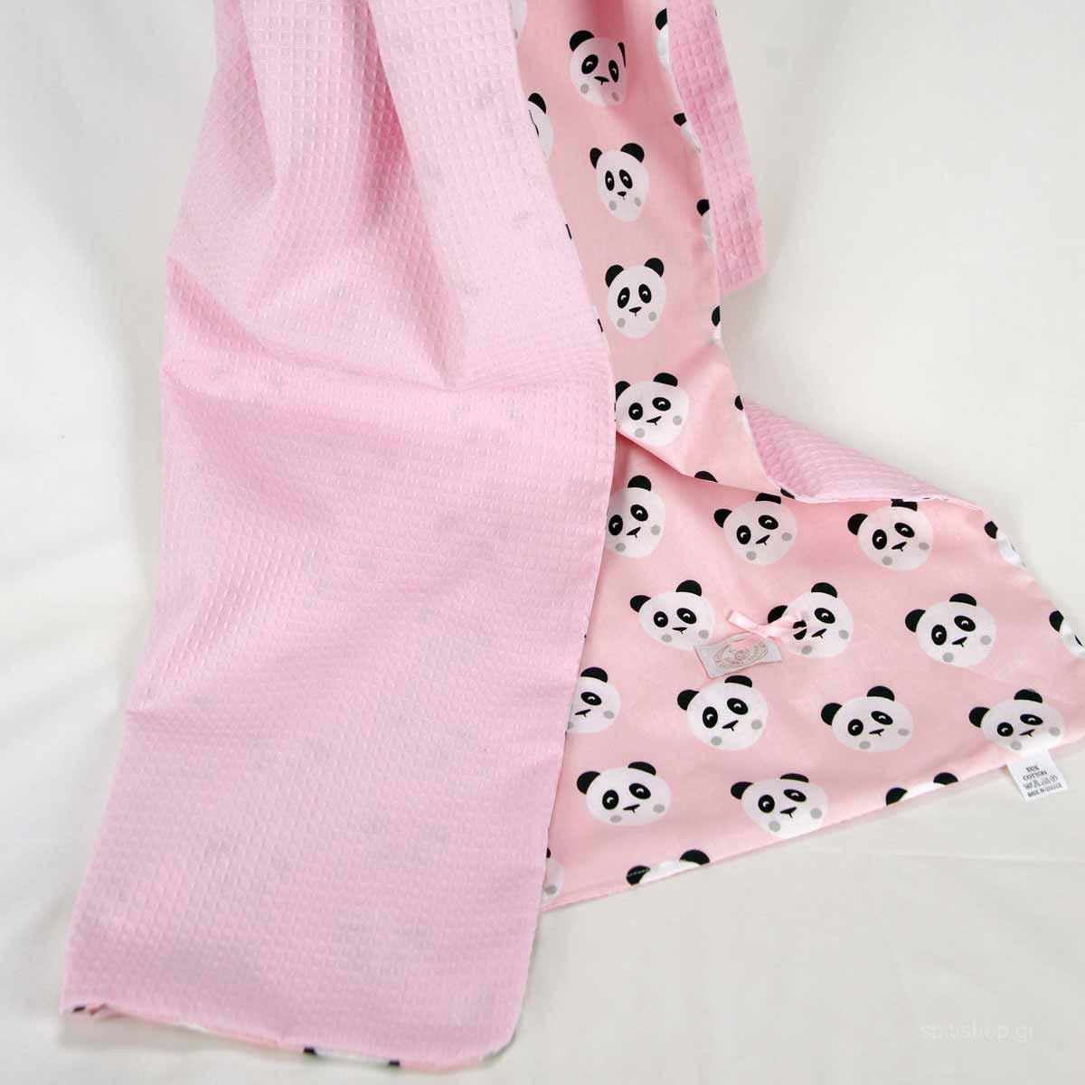 Κουβέρτα Πικέ Κούνιας Ninna Nanna Pink Panda