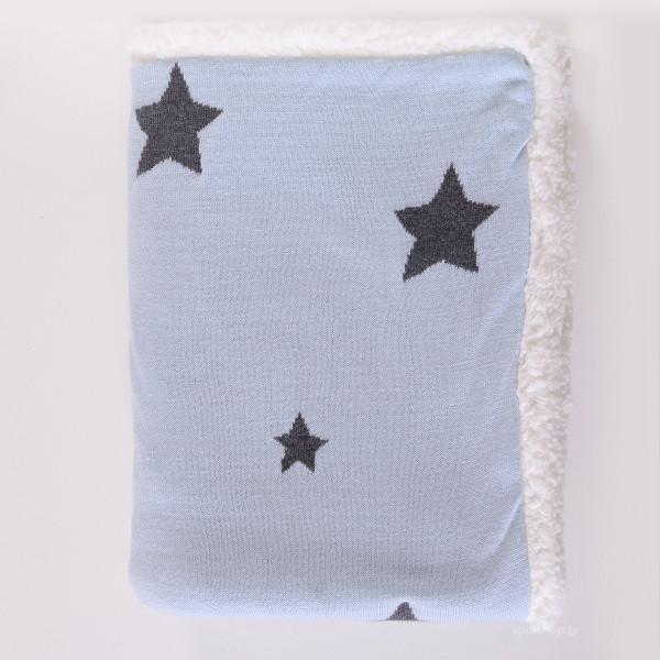 Κουβέρτα Πλεκτή Αγκαλιάς Με Γουνάκι Rythmos Orion Ciel