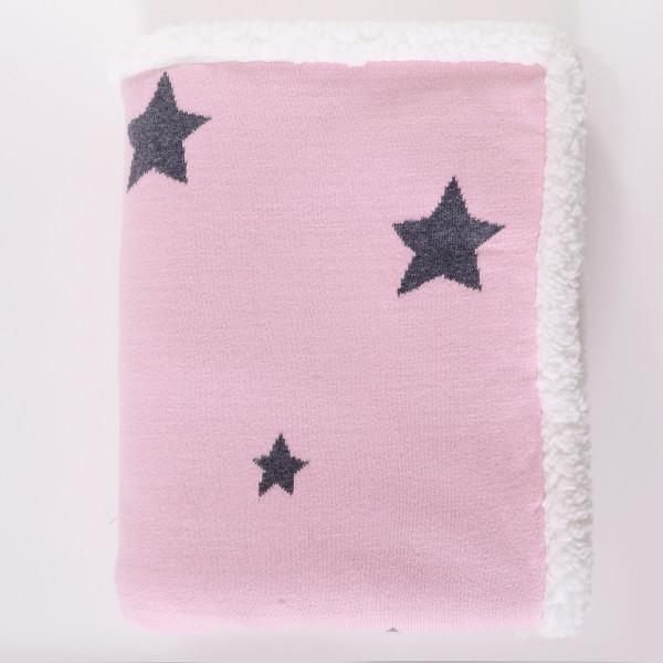 Κουβέρτα Πλεκτή Αγκαλιάς Με Γουνάκι Rythmos Orion Pink