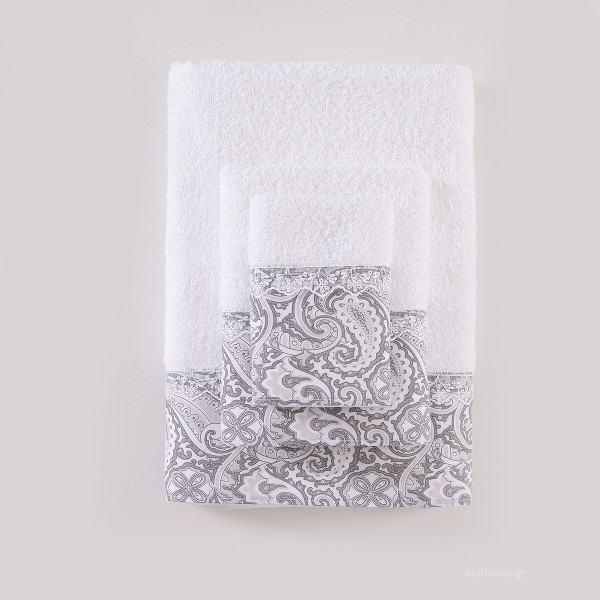 Πετσέτες Μπάνιου (Σετ 3τμχ) Rythmos Layla Grey