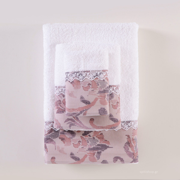 Πετσέτες Μπάνιου (Σετ 3τμχ) Rythmos Selma Λευκό/Σάπιο Μήλο