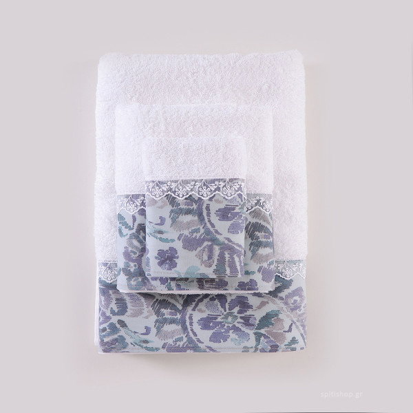 Πετσέτες Μπάνιου (Σετ 3τμχ) Rythmos Selma Λευκό/Γκρι