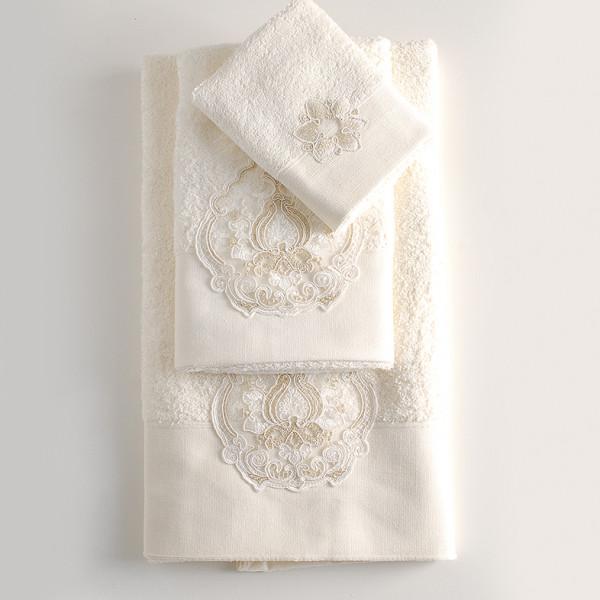 Πετσέτες Μπάνιου (Σετ 3τμχ) Rythmos Seyla Ecru
