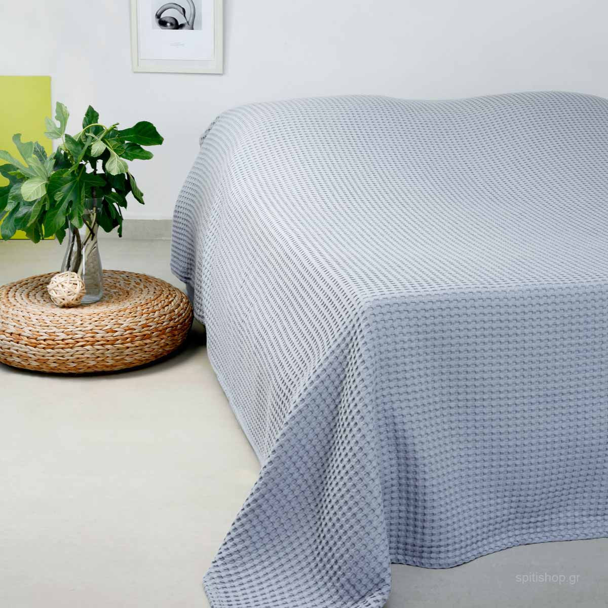 Κουβέρτα Πικέ Διπλή Melinen Patmos Light Grey