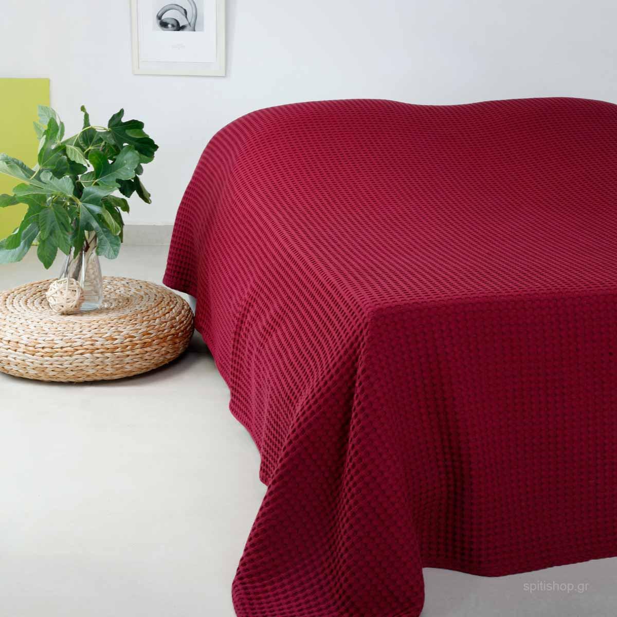 Κουβέρτα Πικέ Διπλή Melinen Patmos Bordeaux