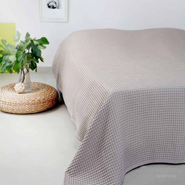Κουβέρτα Πικέ Διπλή Melinen Patmos Greige