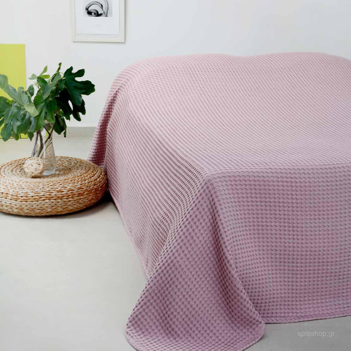 Κουβέρτα Πικέ Διπλή Melinen Patmos Rose