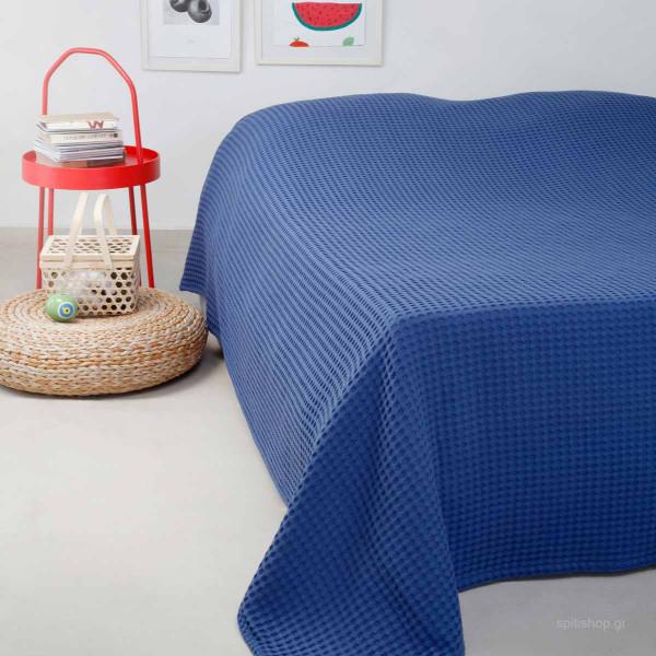 Κουβέρτα Πικέ Υπέρδιπλη Melinen Patmos Blue