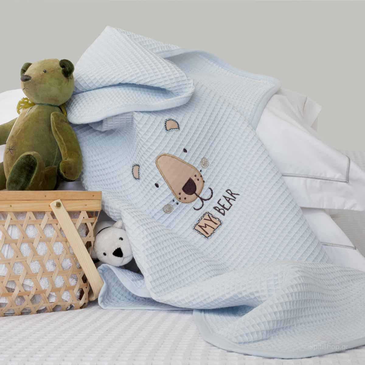 Κουβέρτα Πικέ Αγκαλιάς Melinen Riviera Bear Blue