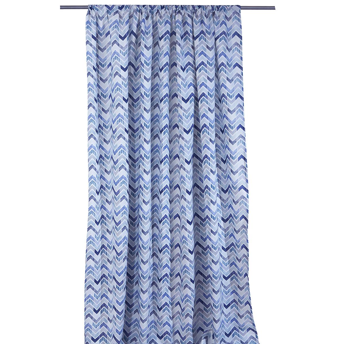 Κουρτίνα (140×270) Με Τρέσα Viopros Κάλβιν Μπλε