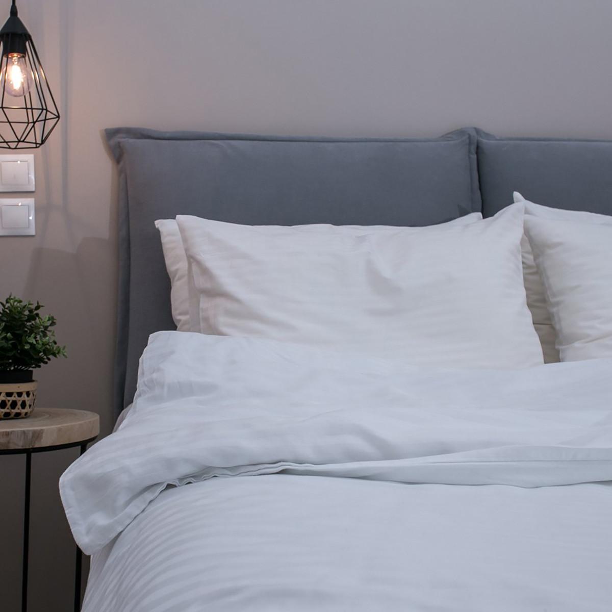 Σεντόνια Μονά (Σετ) White Fabric Stripy White