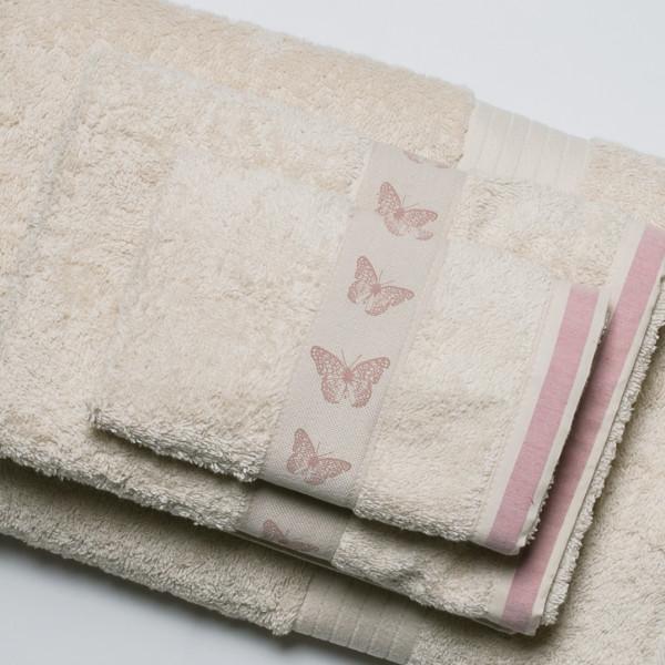 Πετσέτα Προσώπου (50x90) White Fabric Butterfly Beige