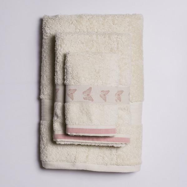 Πετσέτες Μπάνιου (Σετ 3τμχ) White Fabric Butterfly Beige