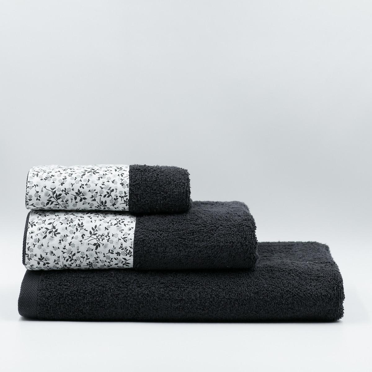 Πετσέτες Μπάνιου (Σετ 3τμχ) White Fabric Liberty Black