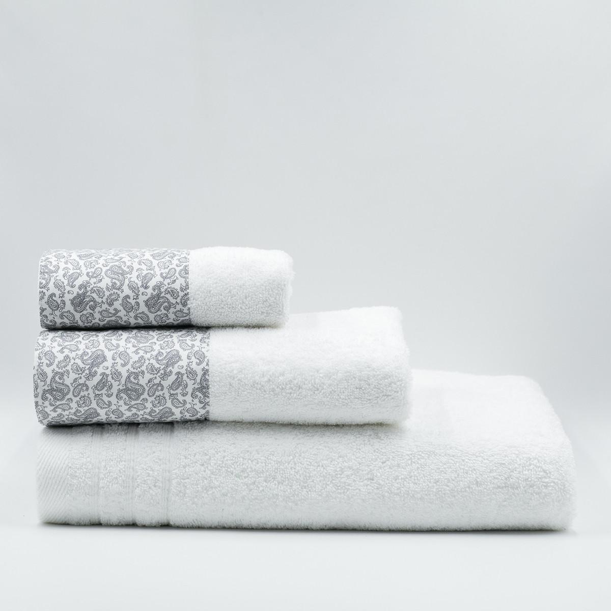 Πετσέτα Σώματος (70×140) White Fabric Paisley White