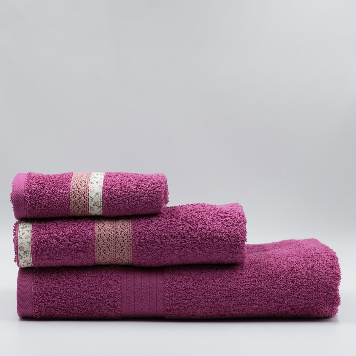 Πετσέτα Σώματος (70×140) White Fabric Maella Pink