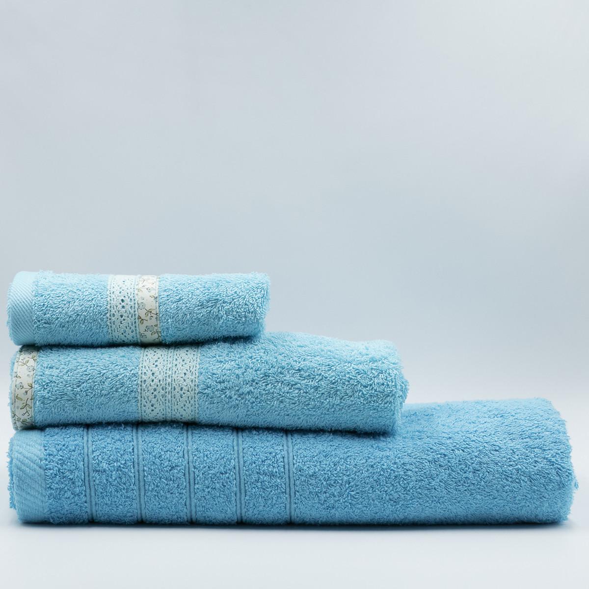 Πετσέτες Μπάνιου (Σετ 3τμχ) White Fabric Maella Blue