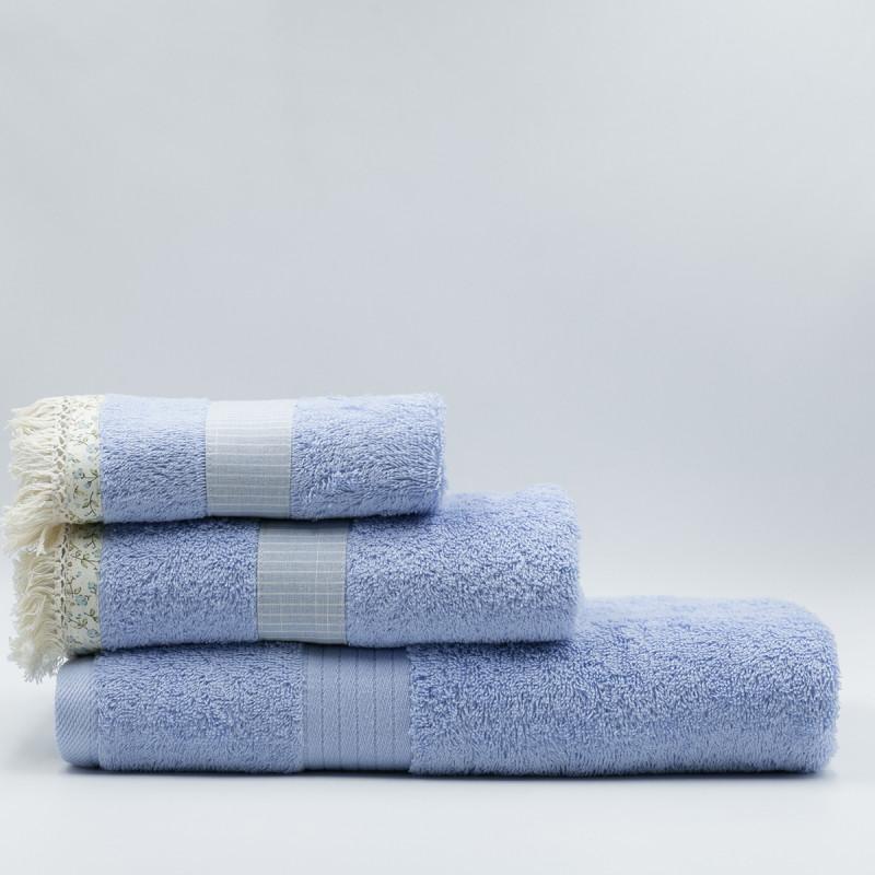 Πετσέτα Προσώπου (50x90) White Fabric Melody Blue