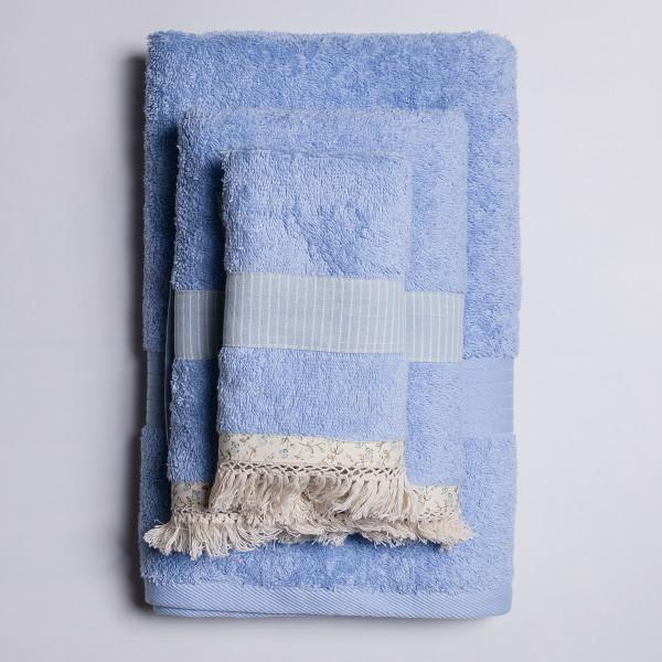 Πετσέτα Σώματος (70x140) White Fabric Melody Blue