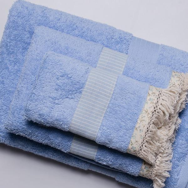 Πετσέτες Μπάνιου (Σετ 3τμχ) White Fabric Melody Blue