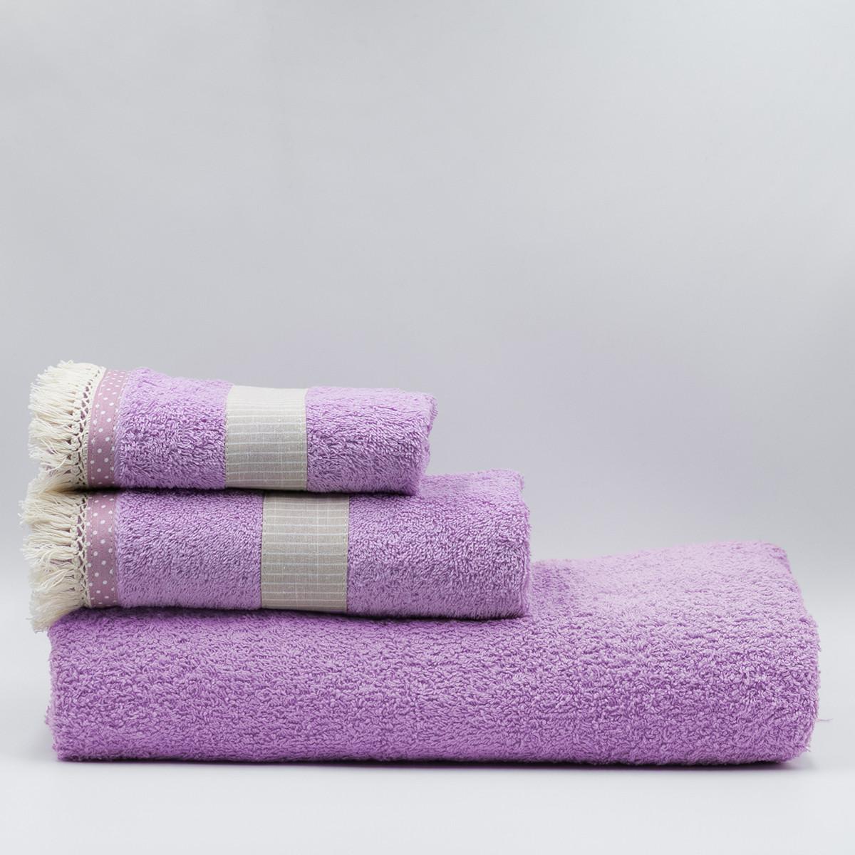 Πετσέτα Προσώπου (50×90) White Fabric Melody Pink