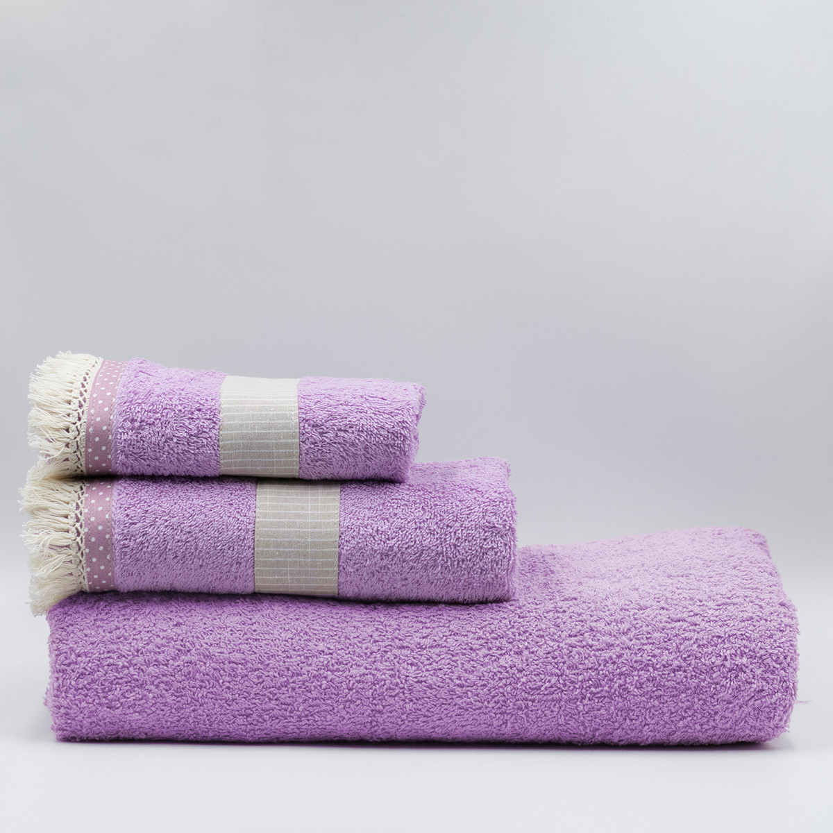 Πετσέτες Μπάνιου (Σετ 3τμχ) White Fabric Melody Pink