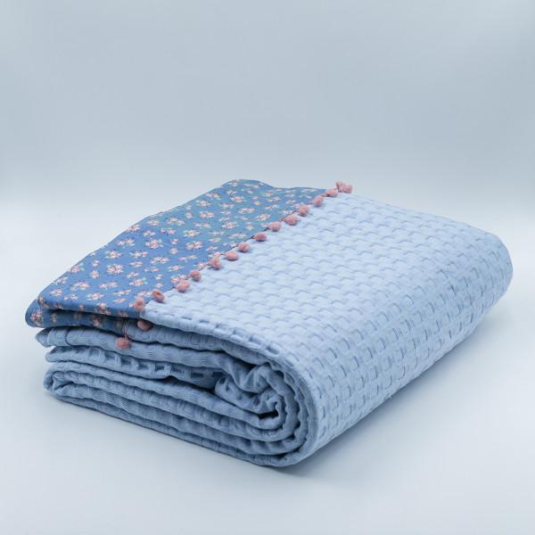 Κουβέρτα Πικέ Μονή White Fabric Botanical Blue