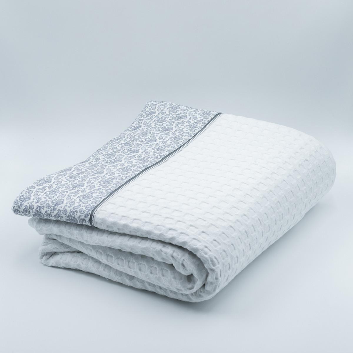 Κουβέρτα Πικέ Μονή White Fabric Paisley White