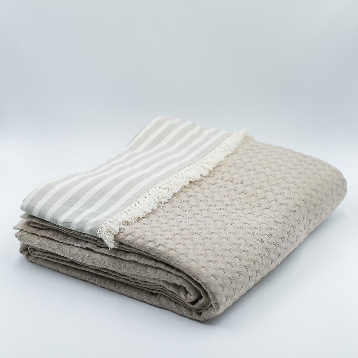 Κουβέρτα Πικέ Υπέρδιπλη White Fabric Stripy Beige