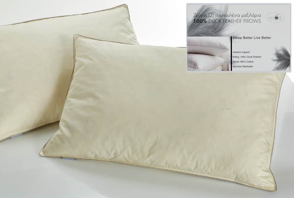 Ζεύγος Μαξιλάρια Ύπνου Πουπουλένια White Egg Simply Win MX10